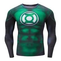 2017 New Compression Shirts Superheros Green Lantern 3D Print T Shirt Long Sleeve Fitness Clothing