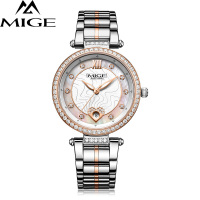 MIGE Women Watches Top Brand Luxury Quartz Movement Calendar Synthetic Sapphire Crystal Rhinestone Luminous Relogio Feminino