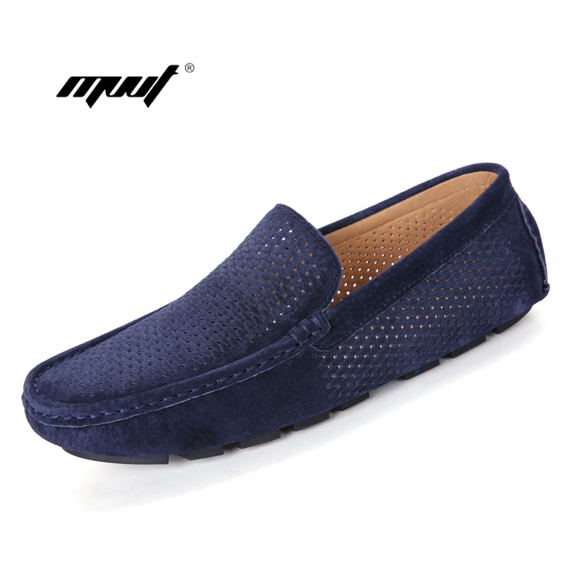 Summer Men shoes Mesh Loafers Casual shoes Boat Fashion Genuine suede Leather Slip On Driving Shoes Moccasins Men's Flats dekabr new 2018 men cow suede loafers spring autumn genuine leather driving moccasins slip on men casual shoes big size 38 46