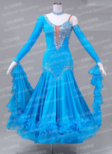 2015 New Competition Slik organza ballroom Standard dance dress,dance clothing,stage wear,ballom dance wear,blue color