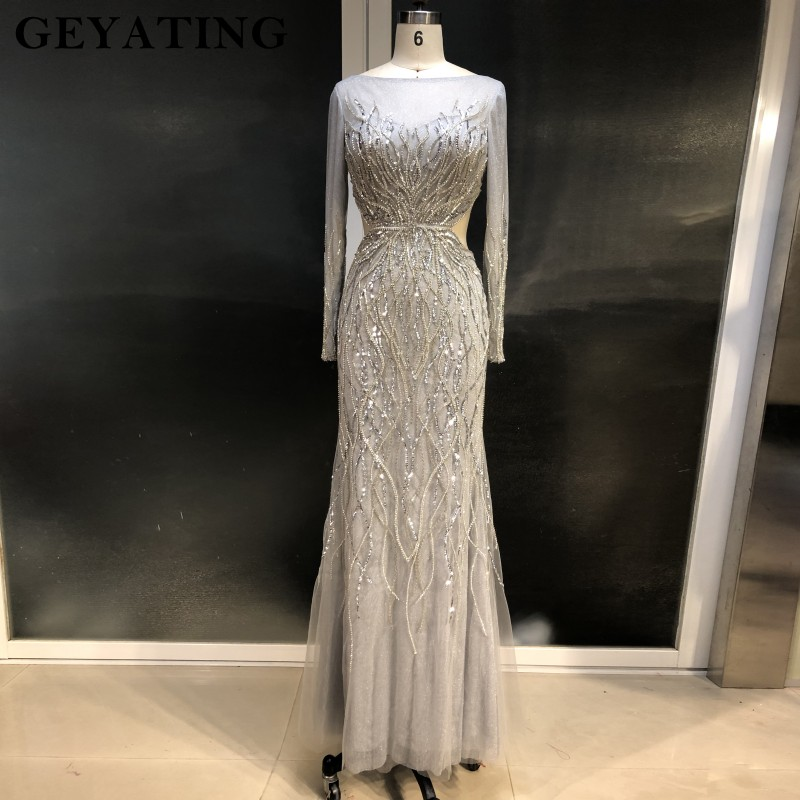 Sexy Backless Long Mermaid   Prom     Dresses   2019 Luxury Crystal Beaded Long Sleeves Evening Gowns Party   Dress   Vestidos de festa