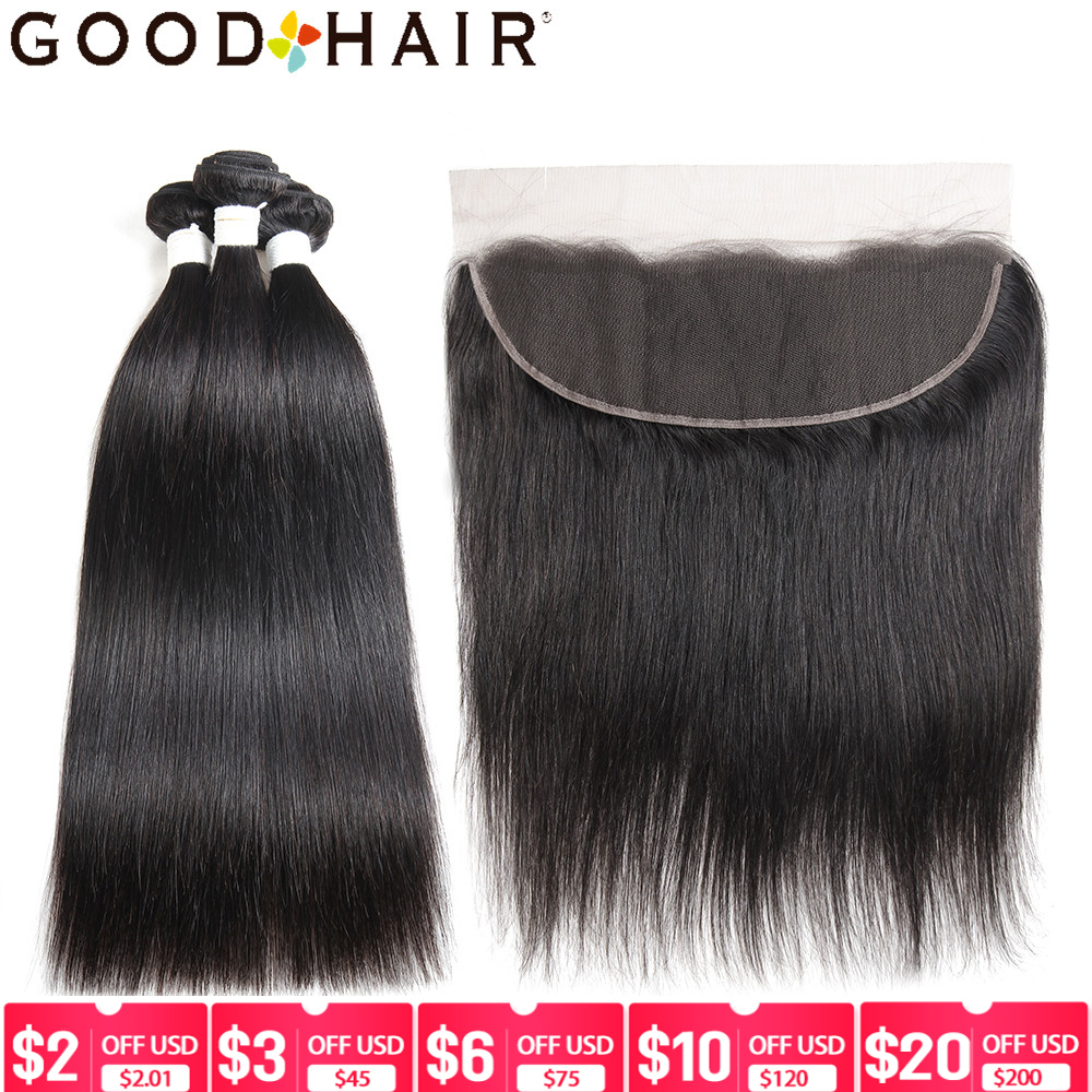Brazilian Straight Human Hair Bundles With Frontal Natural Color 3 Bundles With Lace Frontal Free Part Hair Non Remy GOOD HAIR