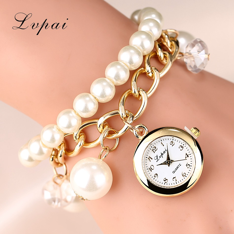 Lvpai 2016 New Style Fashion Watches Women Dress Luxury Pearl Bracelet Wristwatch Electronic Style Women Wristwatch Clock Watch