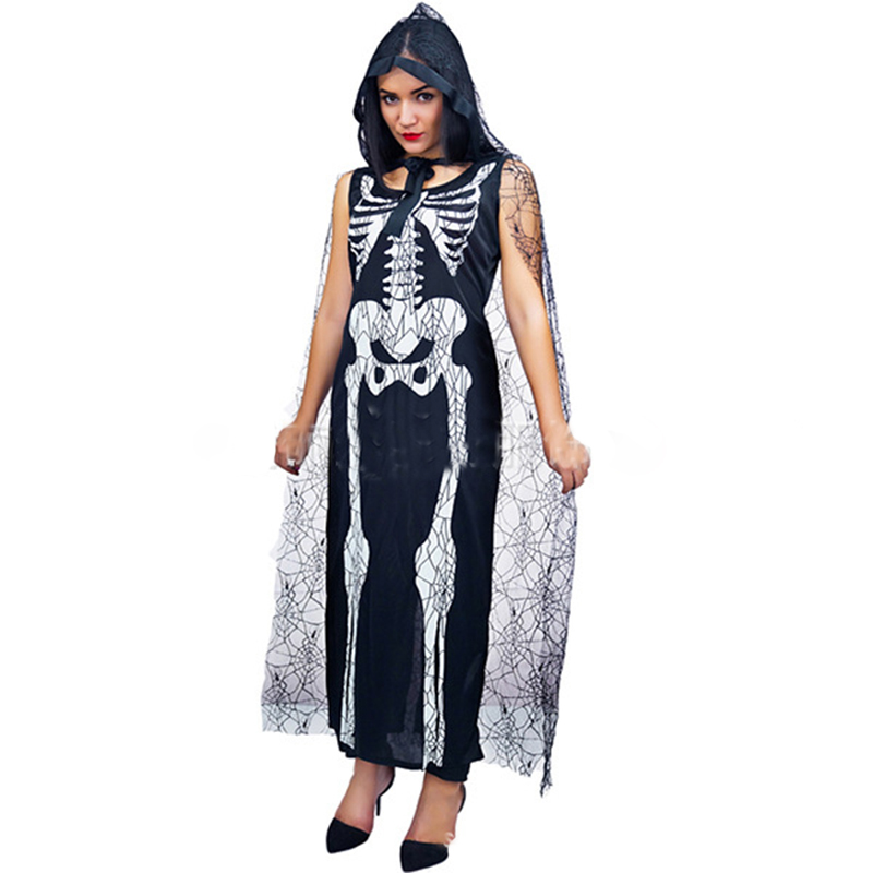 <font><b>Halloween</b></font> New <font><b>2018</b></font> Horror Vampire Ghost Bride Cosplay Dress <font><b>Sexy</b></font> Skeleton Clothes Makeup Party Ball Ghost Festival Costume image