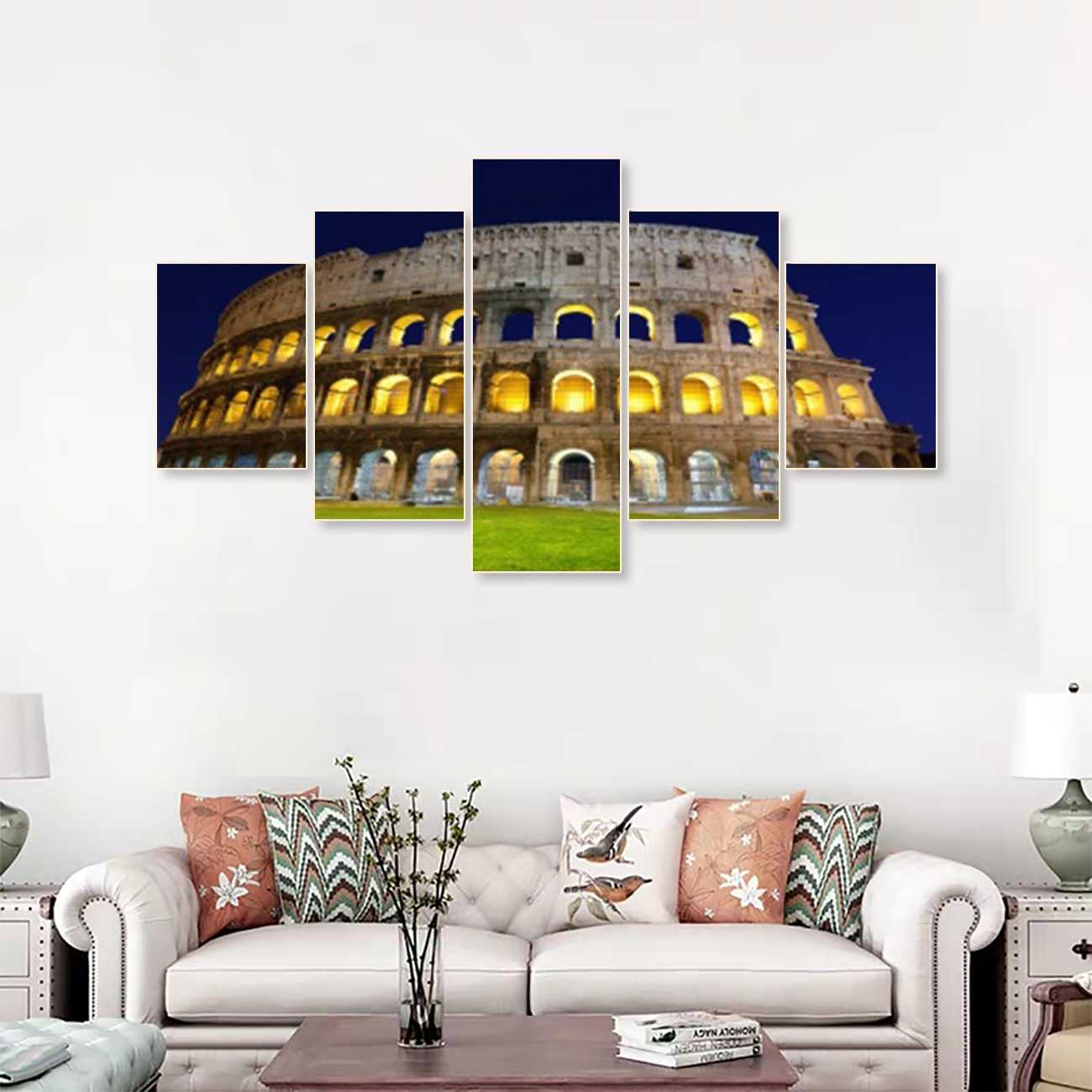 Laeacco Canvas Calligraphy Painting 5 Panel Wall Art Vintage Roman Famous Building Poster and Print Home Living Room Decoration