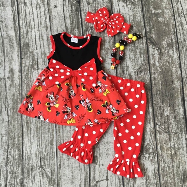 693e96de88f baby girls minnie Capri set children red minnie clothes girls red white  polka dot Capri clothing with necklace and headband