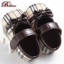 New 2016 Burbry British Brand Baby Girl Shoes Aristocratic Gingham Canvas High-Quality Baby Shoes Lace-Up Non-Slip Shoes Baby