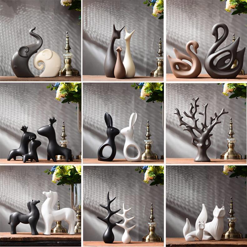 Simple Modern Ceramic Figurines Livingroom Ornament Home Furnishing Decoration Crafts Office Coffee Accessories Wedding Gift jarrones blanco y negro