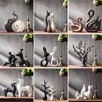 Simple moderne en céramique Figurines salon ornement ameublement décoration artisanat bureau café accessoires cadeau de mariage