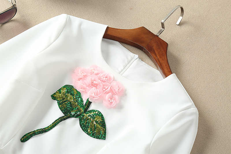 유명 브랜드 runaway 2018 최신 봄 패션 긴 소매 ebroidery 장식 조각 3d 꽃 빈티지 캐주얼 프릴 드레스 여성