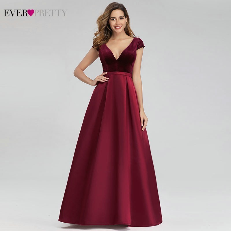 Sexy Burgundy Evening Dresses Ever Pretty EP00982BD A-Line V-Neck Velour Elegant Long Evening Gowns Abiye Gece Elbisesi 2020