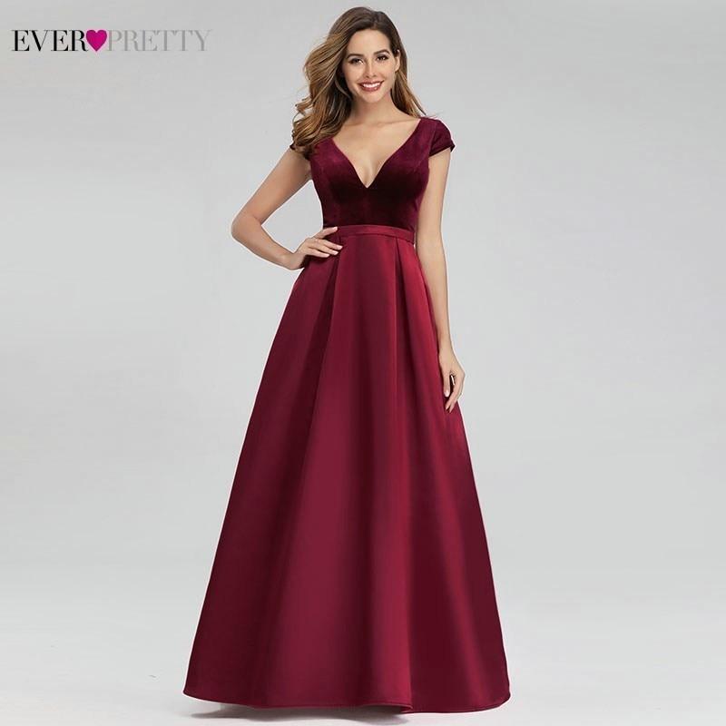 Sexy Burgundy Evening Dresses Ever Pretty EP00982BD A-Line V-Neck Velour Elegant Long Evening Gowns Abiye Gece Elbisesi 2020