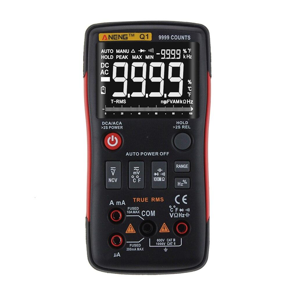 Q1 RMS multímetro Digital de alta precisión 9999 Counts Auto Rango Tester AC/DC voltaje Ohm amperímetro LCD Transistor probador