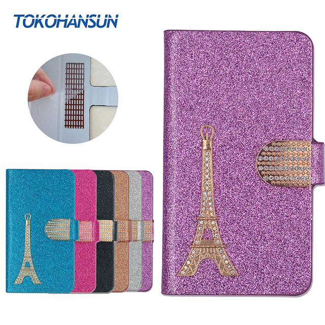 For BLU Life One X2 Mini T470L Case Luxury Bling Flip Wallet Effiel Tower Diamond 2017 New Hot PULeather cover TOKOHANSUN Brand