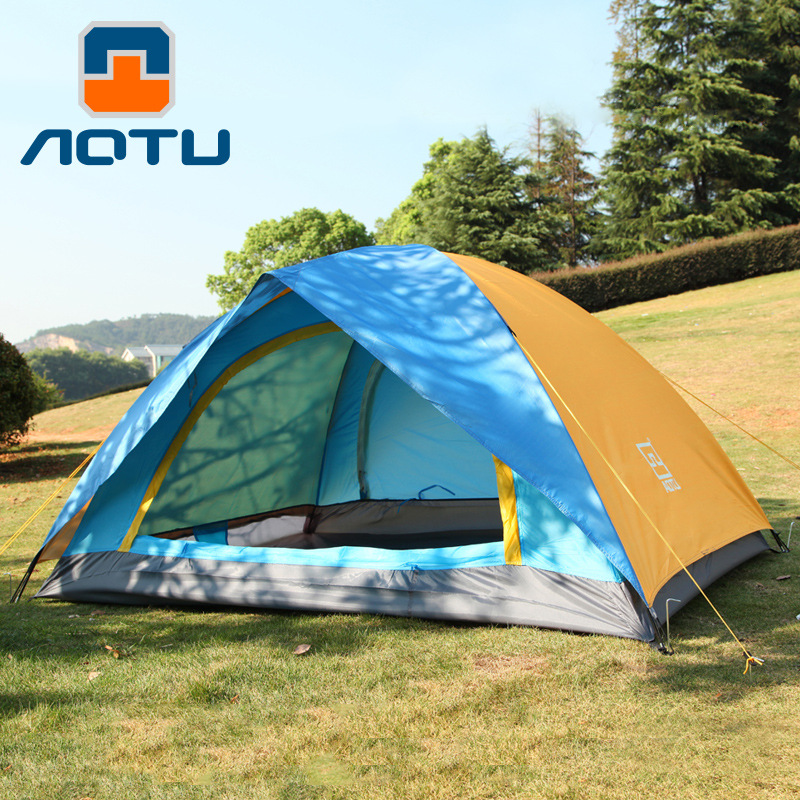 AOTU 1-2 person Camping Tent Double Layer Ultralight Outdoor Hiking Couple Camping Tent Waterproof Picnic Tent 3 4 person windproof waterproof anti uv double layer tent ultralight outdoor hiking camping tent picnic tent with carrying bag