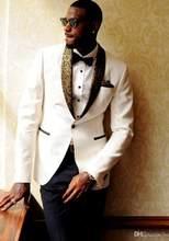 6d531c6c3c0 Ivory Jacket White Gold black Shawl Lapel Design Groom Tuxedos Custom Made Shawl  Collar Men Wedding Suits 2pcs(Jacket+Pants)