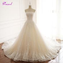 Fsuzwel Charming Strapless Appliques Lace A-Line Wedding Dress 2020 Luxury Beaded Princess Bride Gown Vestido de Noiva Plus Size