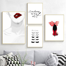 Eyelash Wall Art Canvas Painting Minimalist  Nordic Poster Print Fashion Beauty Make Up Pictures for Living Room Unframed