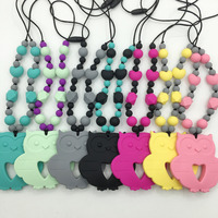 Teething Necklace For Mom And Baby Made Of Safe Chew Food Grade Silicone Owl Pendant Teething