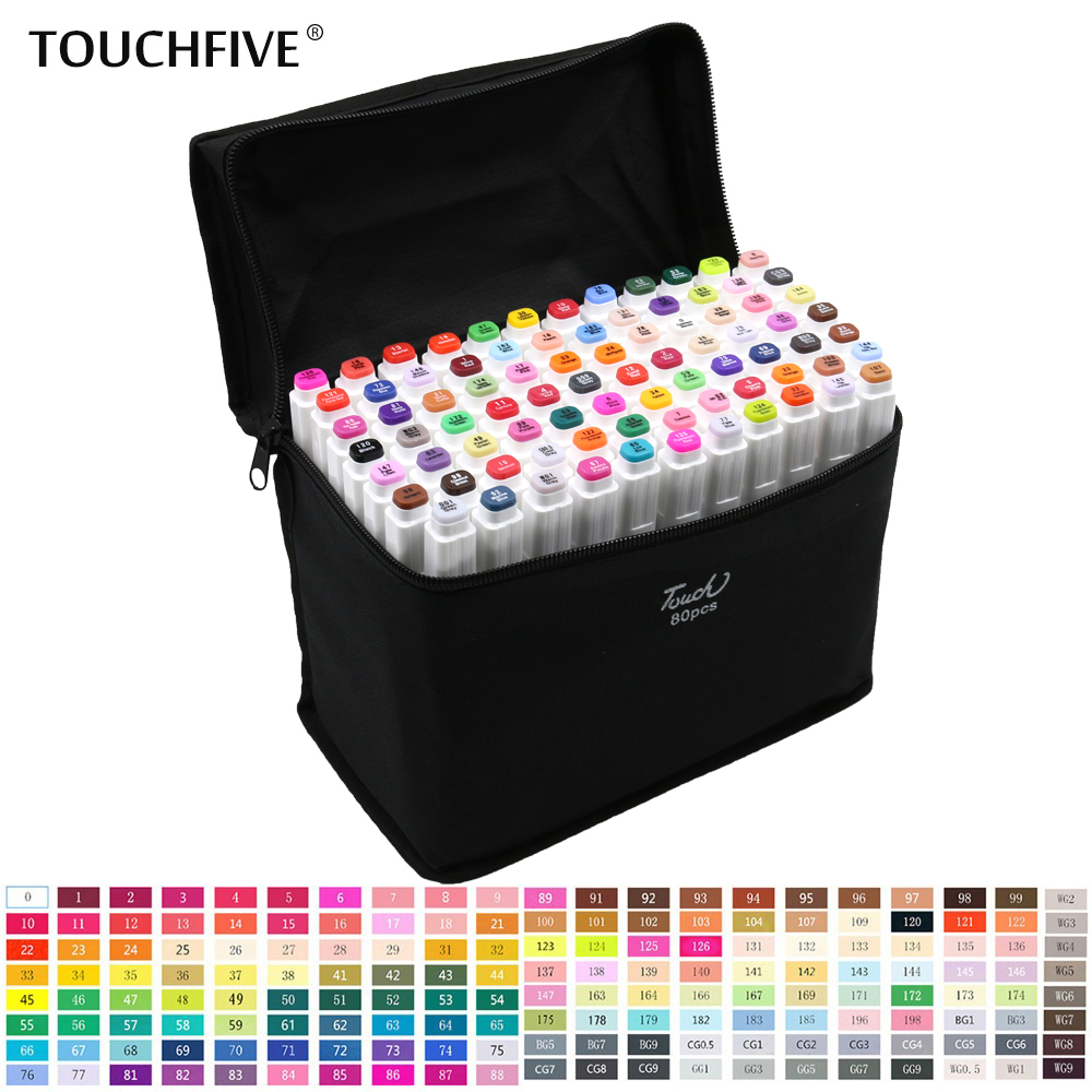 TouchFive 30/40/60/80 Colors Markers Set Dual Headed Sketch Markers Oily Alcohol based ink Professional Art Supplies For DrawingTouchFive 30/40/60/80 Colors Markers Set Dual Headed Sketch Markers Oily Alcohol based ink Professional Art Supplies For Drawing