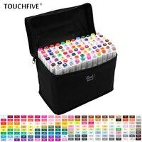 TouchFive 30/40/60/80 Cores Marcadores Esboço Marcadores Definir Dupla Headed Oleosa tinta à base de Álcool Profissional materiais de arte Para O Desenho