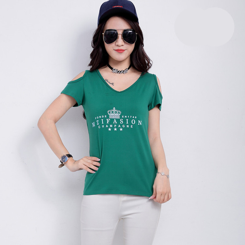 2018 new summer Women off shoulder top t shirt tops short-sleeve T-shirt tops tees casual tops cotton basic shirt green print