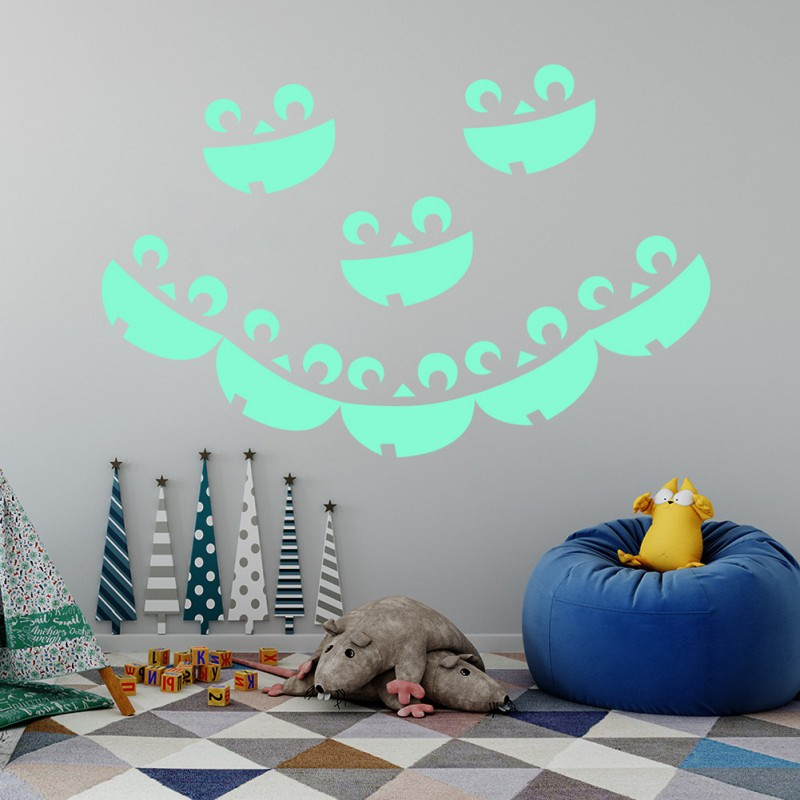 8 pscset Halloween luminous  wall sticker Spider websmileypumpkin lantern Creative home wall decoration Sticker
