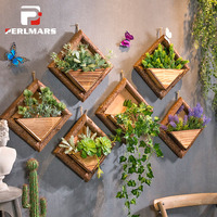 Retro Wooden Wall Hanging Flower Pot Home Garden Wall Decoration Storage Container Simulated Artificial Flower Pot Wall Vase New