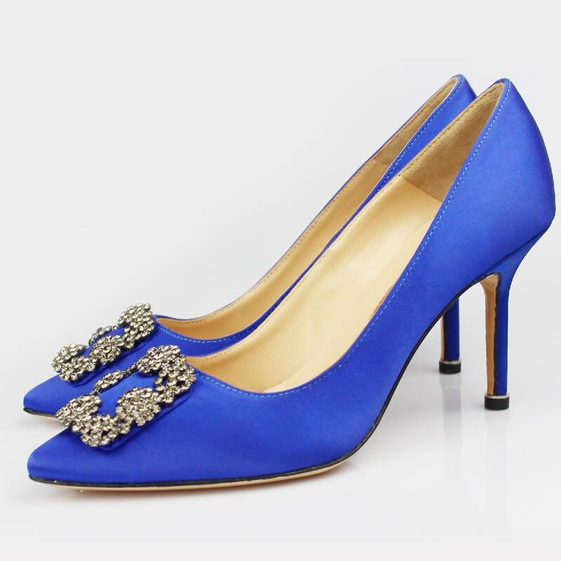 Doux Marque femmes chaussures femme pompes Printemps/Automne De Base Soie Slip-On Bout Pointu Mince Talons Sexy Cristal weddingA8A