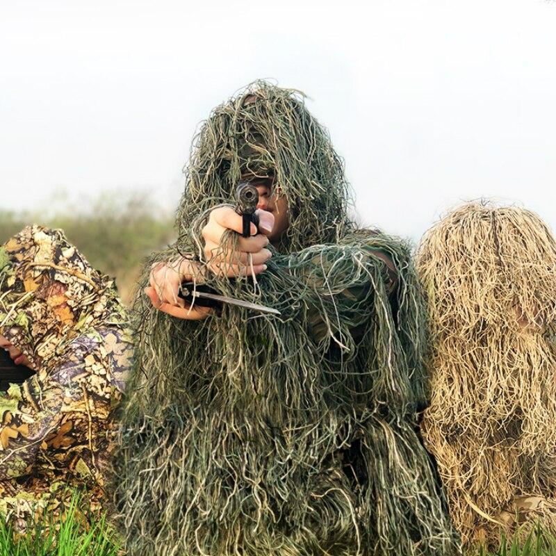 Military Camo Hunting Clothing Ghillie Suit 5pcs Hood+Belt+Top+Pants+Bag Set Sniper Ghillie Camouflage 3D Tactical Suit Uniforme 3d jungle camo ghillie suit camouflage hunting clothing sniper tactical camouflage suit bionic training suit paintball airsoft