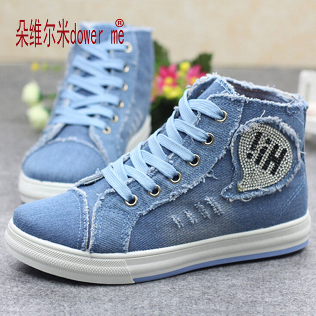 Spring Women Denim Shoes 2016 New Zapatillas Hombre High-top Tide Fashion Shoes Woman Flats Womens Canvas shoes Zapatos Mujer 01