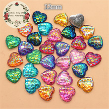 100PCS 12mm Shiny AB Fish Scale Pattern Flatback Resin Heart Cabochon DIY  Decorative Craft Scrapbooking( 125b0ae03aa8