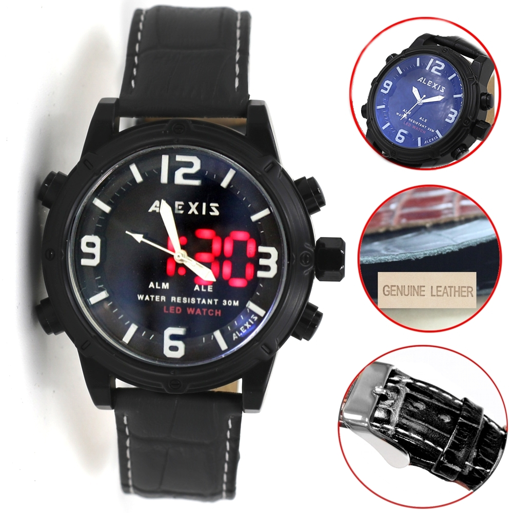 Alexis Brand Alarm BackLight Water Resist  Dual Time Analog Digital Watch Men mens watches montre homme horloge mannen alexis топ из жоржета