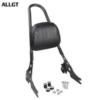 ALLGT Sissy Bar Backrest Luggage Rack For Harley Davidson Sportster XL 883 1200 Black & Chrome