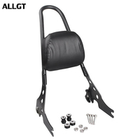 ALLGT Sissy Bar Backrest Luggage Rack For Harley Davidson Sportster XL 883 1200 Black & Chrome