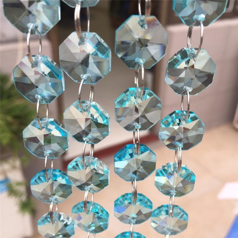 Promotion 10m Lt Aquamarine Crystal 14mm Octagon Garland Chandelier Part Wedding Garland Chains For Curtain Window Adornment