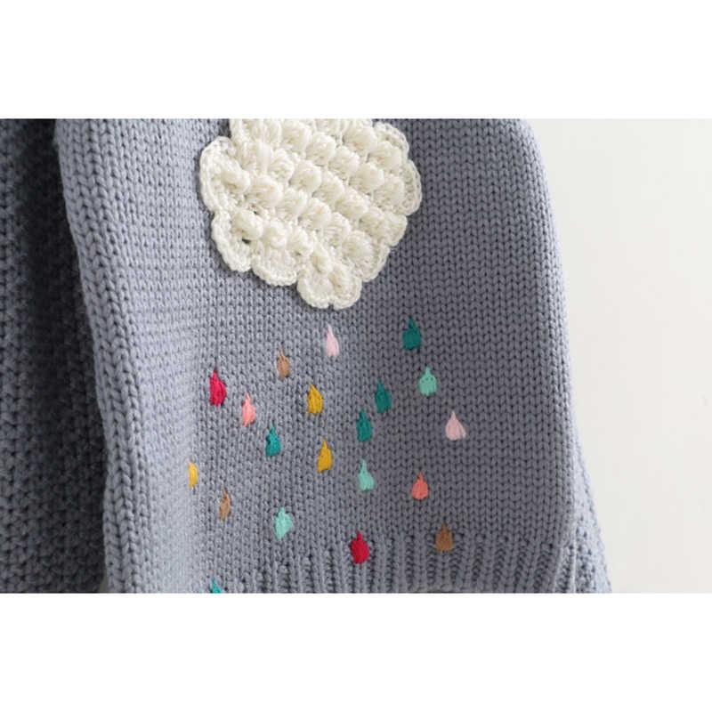 2019 облако капли дождя свитер для девочек Одежда для девочек Вязаный детский свитер Радужный свитер для маленьких девочек с длинным рукавом Осень-зима