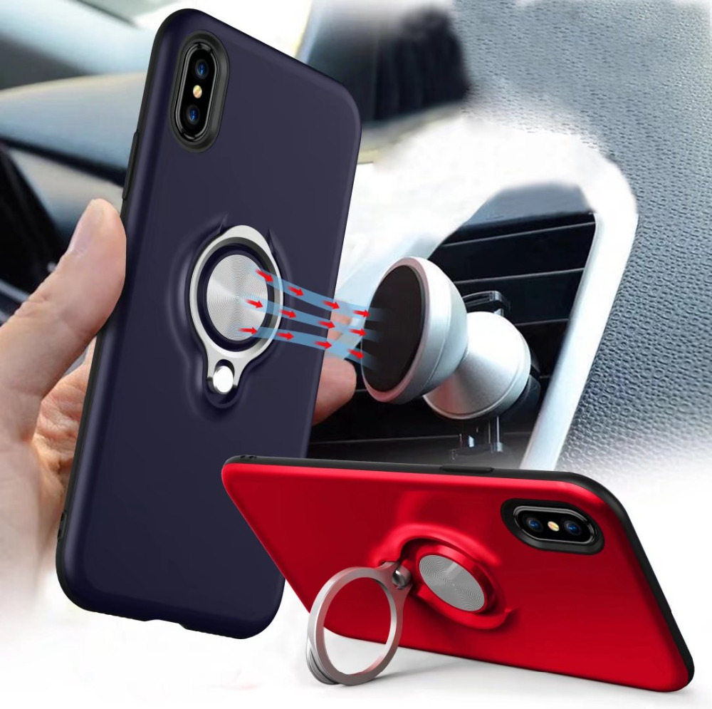 Ring Metal Case For iPhone5 6 5S 6S 7 8 PLUS X Car Holder Stand Magnetic Bracket Back Shell For Samsung S7edge S8 S9 S8 S9Plus