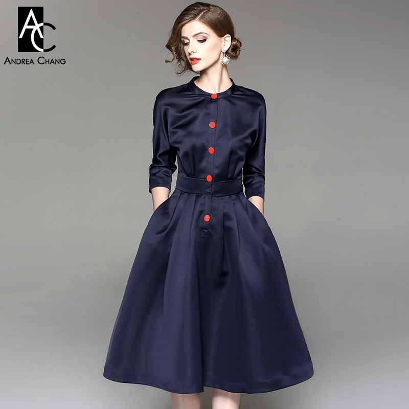 spring autumn woman dress dark blue over knee calf length dress ball gown red buttons 3/4 sleeve long vintage elegant XXL dress spring autumn woman dress faux pearl rhinestone beading sleeve cuff knitted dress fashion vintage elastic black red party dress
