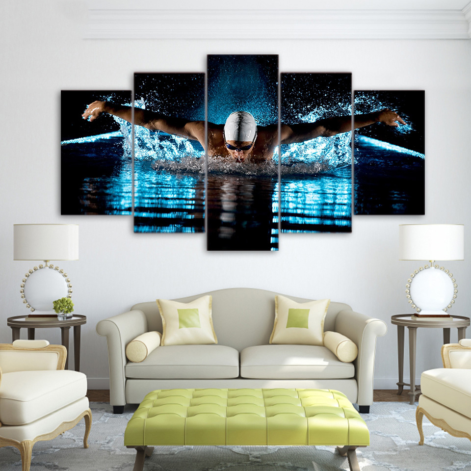 HD Print 5 Pieces Bedroom Modern Canvas Home Decor Painting Wall Art Picture Butterfly Stroke Swimming Sports Poster Living Room