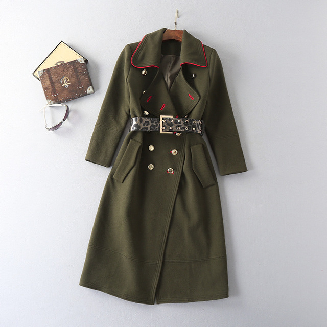 New 2016 autumn winter fashion sexy military style women army green long trench coat double breasted gold color button outerwear