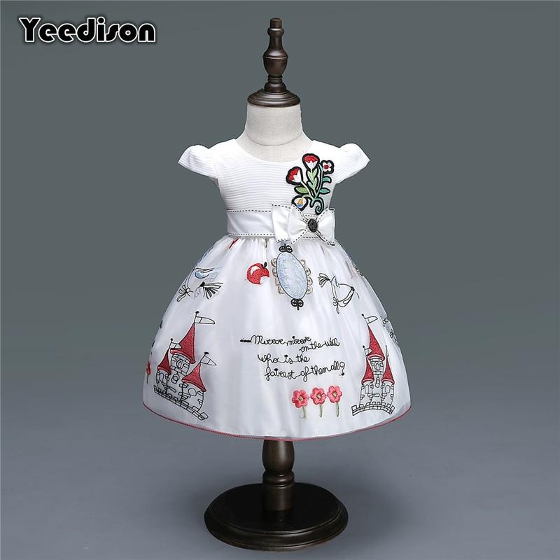 купить Newborn Baby Girl Dresses 2018 New Flower Princess Party Wedding Christening Dress Gown For Baby Girl 1st Birthday Infant Outfit по цене 777.92 рублей