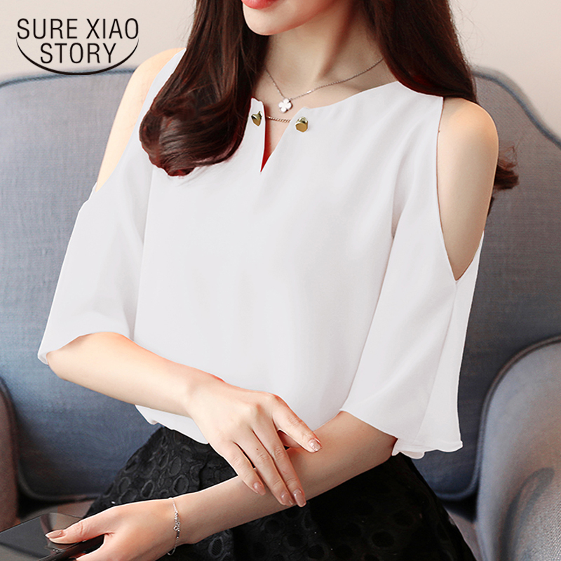 2018 new summer fashion short sleeved blouses chiffon shirts solid elegant women clothing casual hole women tops D616 30