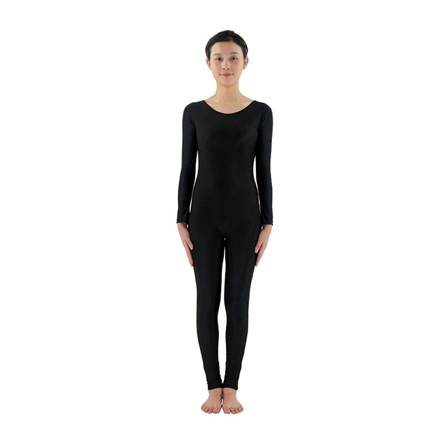 Scoop Neck Full Body Spandex Dance Unitard Black Bodysuit Costumes Workout  Gymnastics Unitard 580988feee35