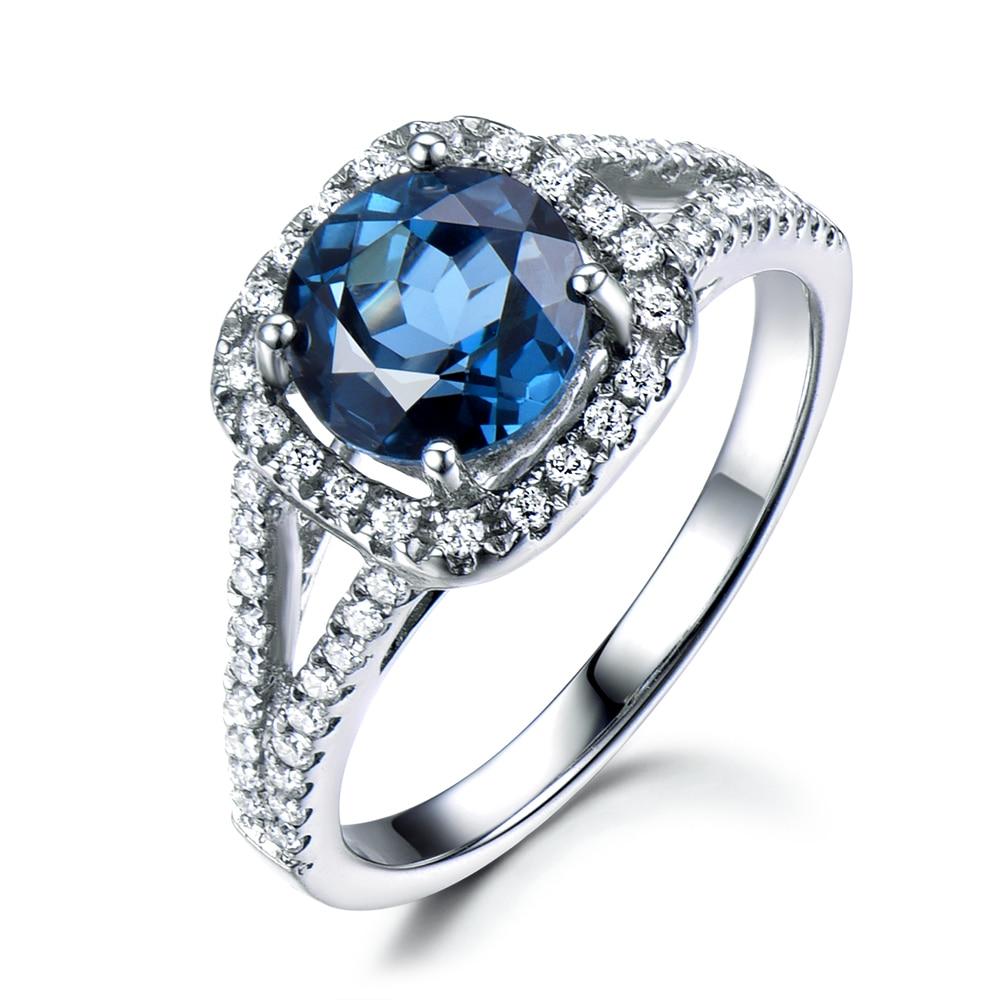 7mm Round Cut London Blue Topaz Engagement Ring 14k Gold