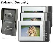 Yobang Security freeship 7 inch Video Intercom Video Door Phone Intercom Doorbell System IR Night Vision Rainproof Camera 1V3