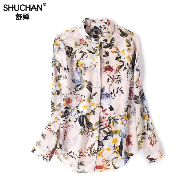 SHUCHAN Women's Blouse Flower Office Lady 100% Natural Silk Print Floral Turn down Collar Loose Womens Tops And Blouses Wfs90061