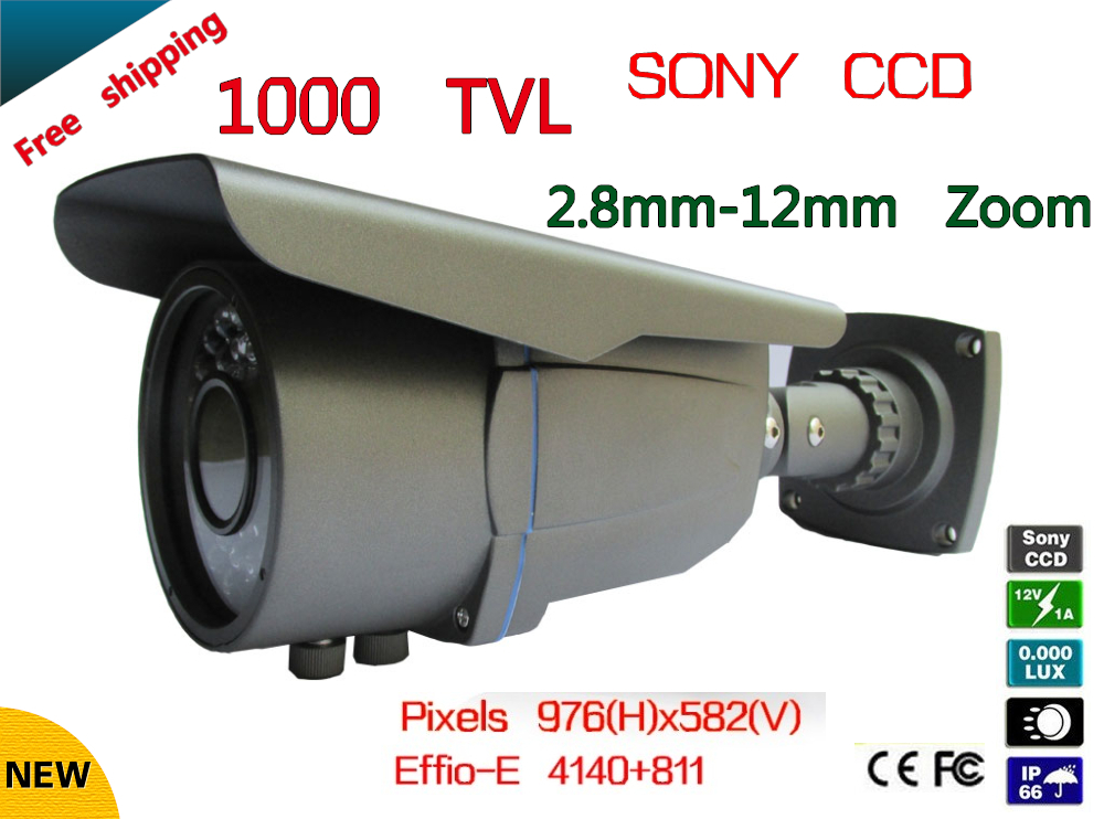 Free shipping 1000TVL SONY CCD Security Outdoor CCTV Camera 2.8-12mm Zoom HD 960H 72 IR LEDS 50M free shipping new 1 3 sony ccd hd 1200tvl waterproof outdoor security camera 2 pcs array led ir 80 meter cctv camera