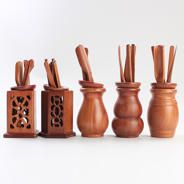 6pcs/set Rosewood Matcha Tea Tools Cutters/scoops/clips/stick/storage box  Japanese Tea Ceremony Tools Tea Measure Accessories