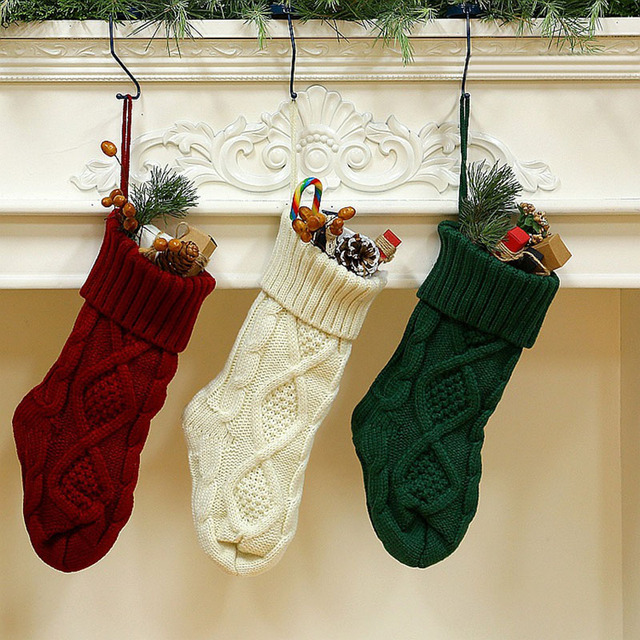 Knitted Christmas Stockings.Us 4 01 23 Off Knitted Christmas Stockings Knitting Socks Gift Bag Fireplace Xmas Home Party Decor Xhc88 In Stockings Gift Holders From Home